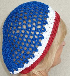 Red White Blue Crochet Patriotic Slouchy by hatsbyanne1942 on Etsy, $25.00