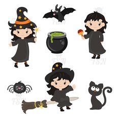 Cute witches. Happy Halloween. Halloween clipart. Witch