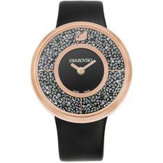 Swarovski Women's Swiss Crystalline Black Calfskin Leather Strap Watch... ($390) ❤ liked on Polyvore featuring jewelry, watches, no color, polish jewelry, black jet jewelry, swarovski jewelry, black jewelry and black wrist watch