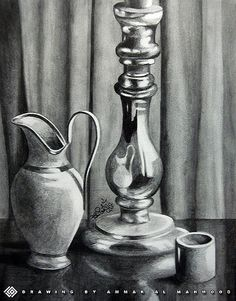 Still life - pencil drawing draw still life sketch, pencil d Still Life Sketch, Still Life Drawing, Still Life Art, Pencil Drawing Tutorials, Pencil Art Drawings, Art Drawings Sketches, Pencil Sketching, Graphite Drawings, Charcoal Sketch