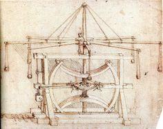 Leonardo DaVinci (1452-1519 @67) inventions: Maquina de guerra compuesta de ocho hondas. Códice Atlántico.