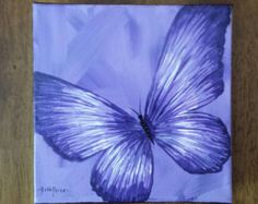 Original Blue Butterfly Painting on Canvas by ColorsbyRuth on Etsy
