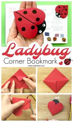How to make an origami bookmark ladybug. How to make an origami bookmark ladybug. How to make an origami bookmark ladybug. Origami Bookmark Corner, Bookmark Craft, Corner Bookmarks, Bookmark Ideas, Paper Crafts For Kids, Diy For Kids, Diy And Crafts, Decor Crafts, Summer Crafts