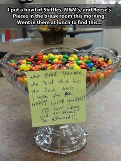April fools idea :: skittles, reeces pieces and M&Ms in the same bowl together...