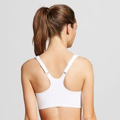3d4e6f38deb Simply Perfect by Warner s Wire-Free Zipper Front Back Smoothing Sports Bra  - Bright White