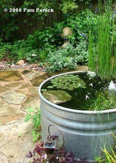 Catino in lamiera galvanizzata utilizzato come piccolo giardino acquatico