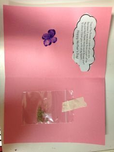 The inside of our card for mommy with flower seeds and thumbprint flowers!