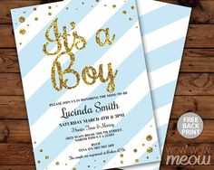 It's a Boy Baby Shower Invitation INSTANT DOWNLOAD by wowwowmeow