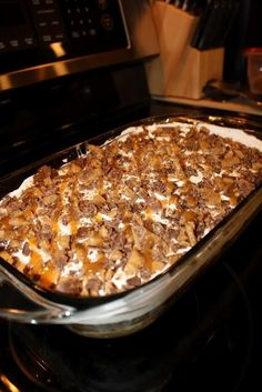 "Better than sex cake.. It's my husbands favorite but In our house we call it the ""candy bar cake"" we have young kids! Lol"