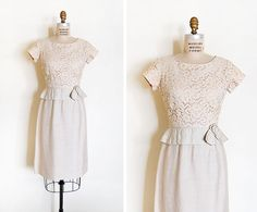 vintage 1950s dress / 1950s silk lace dress / vintage by cutxpaste