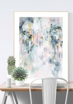 """Wall art print in pastel blues and greys in Scandinavian home office interior. """"Sage For Days I"""" by Kate Fisher."""