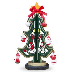 """6.5"""" Wooden Tabletop Christmas Tree with 12 Santa, Snowman, Christmas Balls Miniature Wooden Ornaments"""