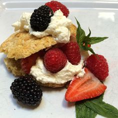 Fresh Oregon Berries are just around the corner.  Can't wait!  Berry Shortcake with house made whipped cream and mint #oldparkdaleinn #bedandbreakfast #oregonbedandbreakfastguild