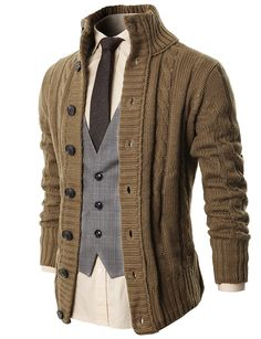 Mens Casual Stand Collar Cable Knitted Button Down Cardigan Sweater Beige - Mens Shirts Casual - Ideas of Mens Shirts Casual - Mens Clothing Shirts Dress Shirts Mens Casual Stand Collar Cable Knitted Button Down Cardigan Sweater Beige Sweater Cardigan, Men Sweater, Cable Cardigan, Mens Sweater Outfits, Mens Shawl Collar Cardigan, Cable Knit Sweaters, Estilo Cool, Beige Sweater, Mens Clothing Styles