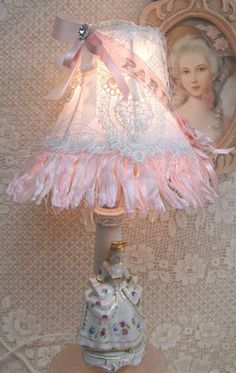 Monsier and Mademoiselle Lamps-French lamps, male and female lamps, white Paris lamp shades, Shabby French Chic, Shabby Chic Mode, Estilo Shabby Chic, Romantic Shabby Chic, Shabby Chic Crafts, Shabby Chic Bedrooms, Shabby Chic Cottage, Shabby Chic Style, Shabby Chic Furniture