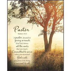 "This Pastor Plaque is the perfect present for your pastor, featuring a photo of orange and golden light streaming through a tree in a field. In stylistic writing is this poem: ""Pastor. Pastor Appreciation Quotes, Pastor Quotes, Appreciation Cards, Gifts For Pastors, Pastors Wife, Thank You Pastor, Pastor Anniversary, Anniversary Dinner, Church Events"