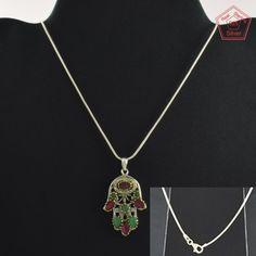 Fatima Hand Multi Stone Fashion Design 925 Sterling Silver Necklace NK2964…