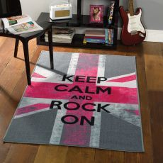 Flair Rugs Trendy Kids Teenage Rugs Fully Washable In Silver Grey Fuchsia  Pink