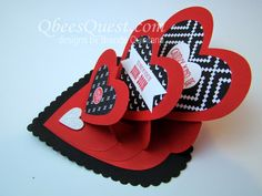 Qbee's Quest Stamping Ideas - triple heart easel card tutorial