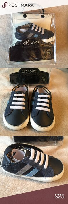Brand New Old Soles Sneakers Brand new, with tags in original package! Sz: 6-9 months. My son wore a pair just like this ALL THE TIME! Real leather. Easy to get on. Old Soles Shoes Baby & Walker