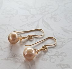 Champagne Real Pearl Earrings Swarovski Crystals Gold by STBridal
