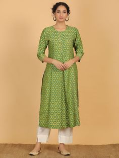 Buy Turquoise Printed Chanderi Silk Kurta with Off White Cotton Pants - Set of 2 online at Theloom