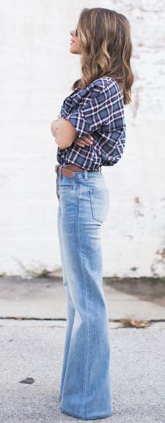 flared denim, belt, button up tucked in--I have similar jeans. I could do this.