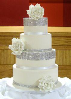 Beautiful White Roses Wedding Cake