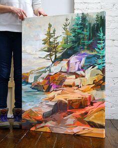 Acrylic Artwork, Acrylic Painting Canvas, Knife Painting, 3 Piece Canvas Art, Gouache Painting, Impressionism Art, Abstract Landscape, Artist Art, Painting Inspiration