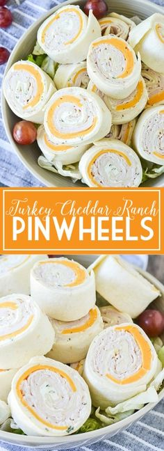 Ditch the same old same old sandwich and try these easy and delicious Turkey Cheddar Ranch Pinwheels perfect for lunch, snack or on the go! Pool Snacks, Snacks Für Party, Appetizers For Party, Appetizer Recipes, Beach Appetizers, Cold Party Food, Parties Food, Kid Snacks, Party Games