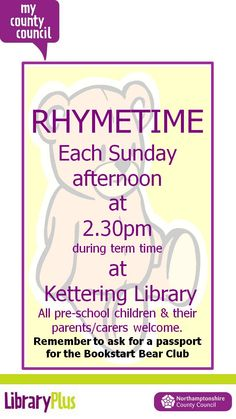Term time Sunday Rhymetimes at Kettering Library are back.