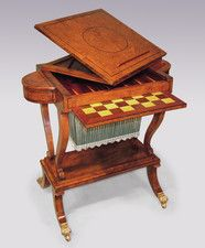A Regency period Yewwood Work/Games Table