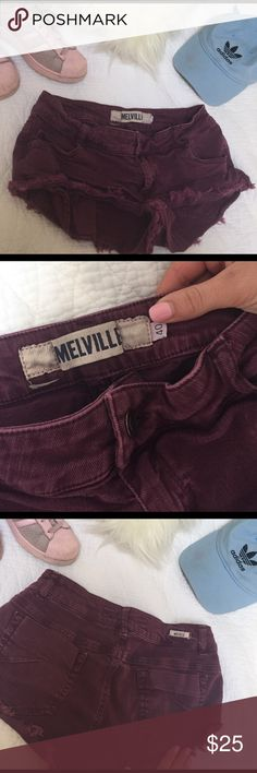Brandy Melville Denim Shorts Maroon, frayed, short!! Super stretchy. Fits US 25,26,27. European size 40. Brandy Melville Shorts Jean Shorts