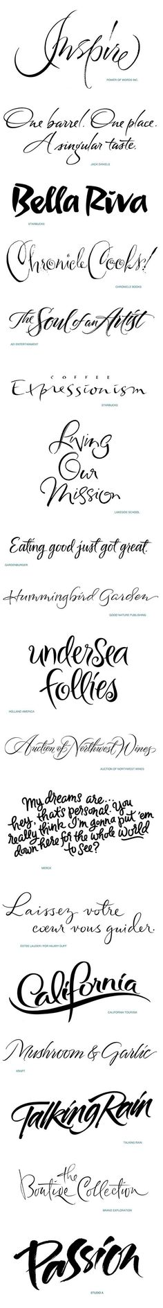 A portfolio of diverse styles of hand lettered scripts, calligraphy and brandmarks. The portfolio includes work used in posters and book publishing, packaging, advertising and brand promotion.