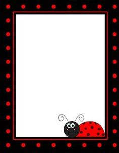 Ladybug Backgrounds, Borders, and Digital Paper Baby Ladybug, Ladybug Party, Page Borders Design, Ladybug Crafts, Art Drawings For Kids, Class Decoration, Frame Clipart, Borders And Frames, Writing Paper