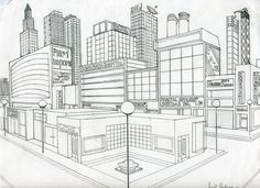 Here is an example of a city in two point perspective, similar to your homework assignment. feel free to use reference images and imagination to draw your Perspective 3 Points, Two Point Perspective City, 2 Point Perspective Drawing, Perspective Art, Cityscape Drawing, City Drawing, Drawing Room, Perspective Architecture, Architecture Design