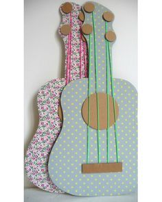 made this tonite for Lyla her little friend to try out tomorrow! hot glued some cute fabric to a cardboard guitar cut out. pretty cute, well see how she likes it. Projects For Kids, Diy For Kids, Crafts For Kids, Diy Projects, Cardboard Guitar, Cardboard Crafts, Crafty Kids, Creative Kids, Craft Activities