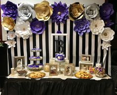Dessert Table With Paper Flowers Backdrop For Purple Themed 60th Birthday Party Birthdayparty Ideas Mom