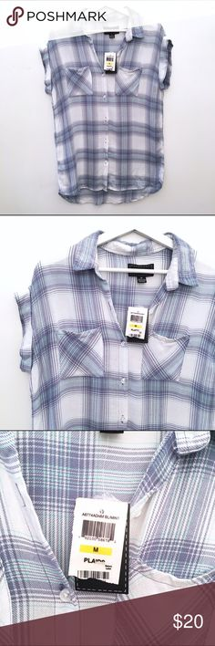 CONFESS Plaid Button Up Tie collar  Buttons down front  Two pockets on front  Capped sleeves  Blue and white  100% Rayon  Size Medium    Condition: no stains or tears   ☑️No Pets  ☑️Non-Smoking home  ☑️Every item steamed throughly before shipped!  💌 Ships from Santa Monica, CA   🗝Follow me on Instagram! @koukil1908 ask to have a video of the item ✌️ Confess Tops Button Down Shirts