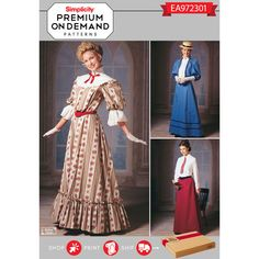 Simplicity Pattern EA972301 Premium Print on Demand Misses' Edwardian Costumes