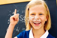 Schoolgirl decided math problem Royalty Free Stock Photo