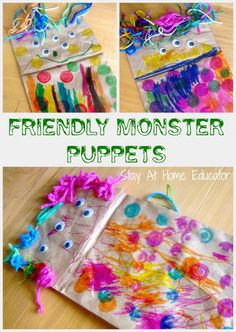 Friendly monster puppets Halloween craft - Stay At Home Educator