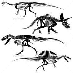 Ancient Fossil Dinosaur Skeletons by MicrovOne Ancient fossil dinosaur skeletons, lizard animals bones vector set. Skeleton disappeared dinosaur, black silhouette skeleton frame