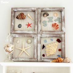 Display your favorite vacation treasures all year long with this simple DIY nautical decor shadowbox. Use seashells, sea glass, and more in this fun piece!