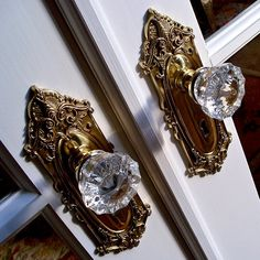 glass door knobs with beautiful brass backplates