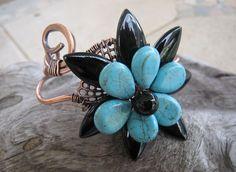 Turquoise black flower handmade copper cuff by DesigningIt on Etsy, $47.00