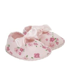 Mothercare Pink Floral Ribbon Baggies - teeny weeny cute newborn-sized girly shoes!!