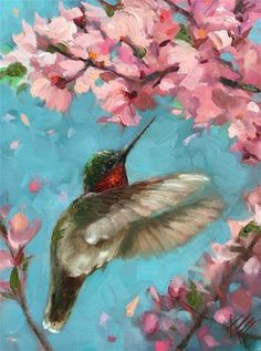 "Daily Paintworks - ""Hummingbird with Blossoms"" - Original Fine Art for Sale - © Krista Eaton"