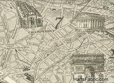 Paris Map English - Paris map fabric