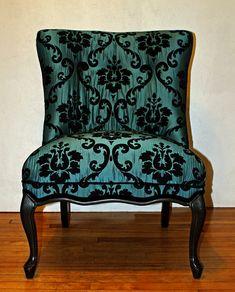 Dark Turquoise Matelasse Velvet Damask Vintage by KLUpholstery, $595.00